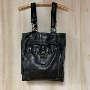Levenger Black Pebbled Leather Tote Bag